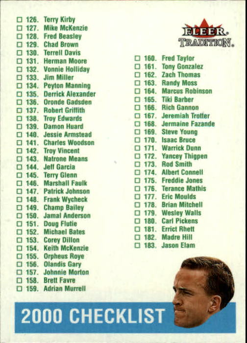 2000 Fleer Tradition Glossy #398 Peyton Manning CL