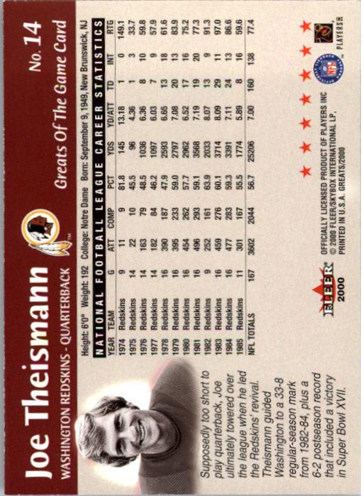 2000 Greats of the Game #14 Joe Theismann back image