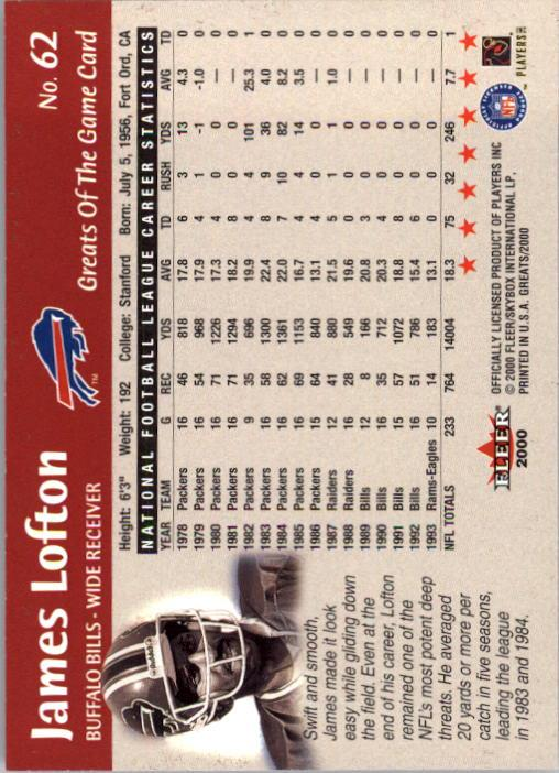 2000 Greats of the Game #62 James Lofton back image