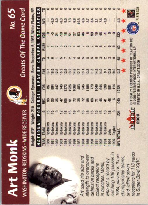2000 Greats of the Game #65 Art Monk back image