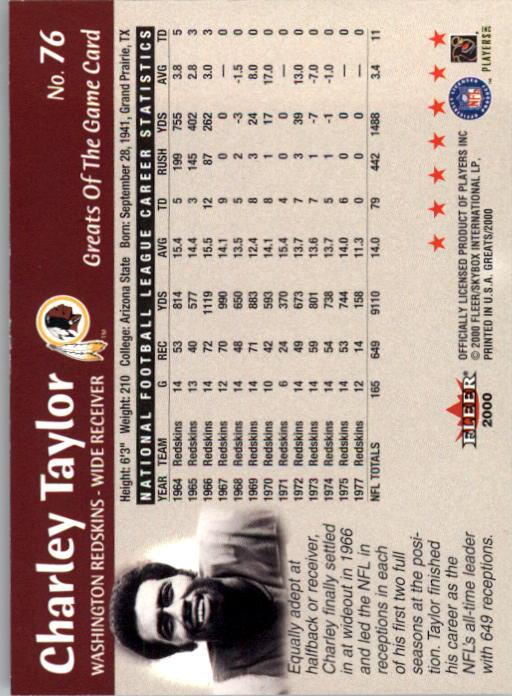 2000 Greats of the Game #76 Charley Taylor back image