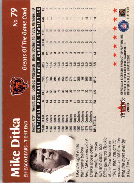 2000 Greats of the Game #79 Mike Ditka back image