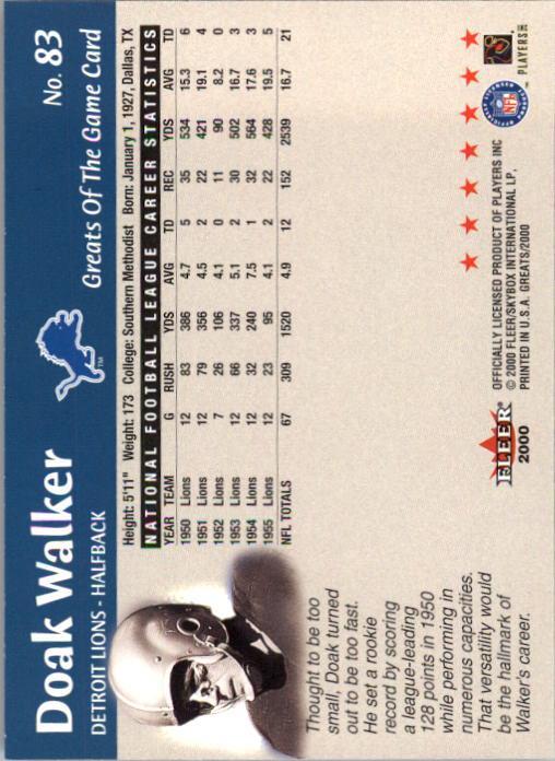 2000 Greats of the Game #83 Doak Walker back image