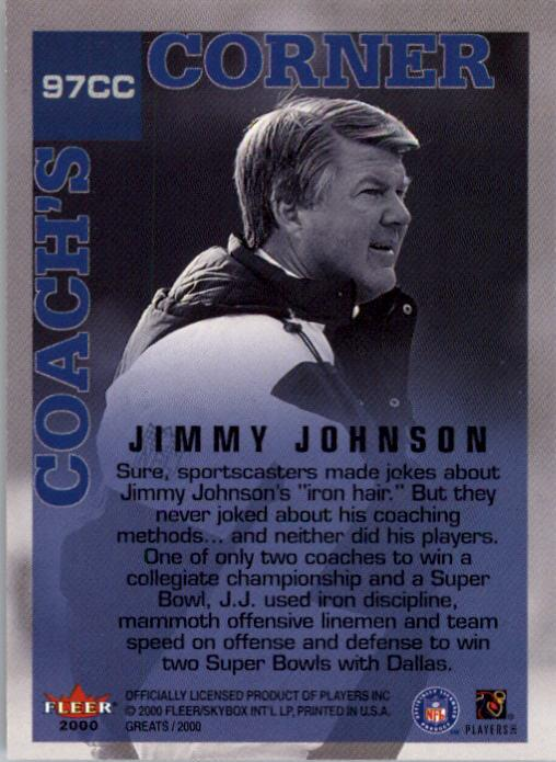 2000 Greats of the Game #97 Jimmy Johnson CC back image