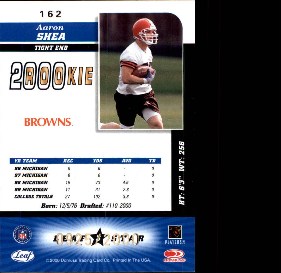 2000 Leaf Certified #162 Aaron Shea RC back image