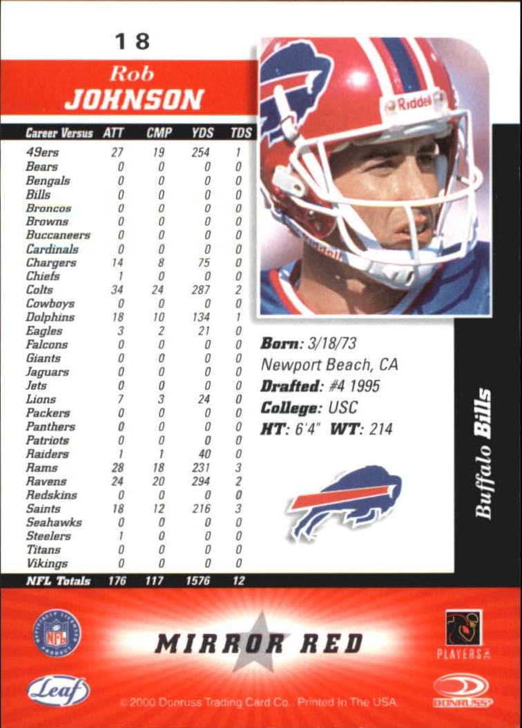 2000 Leaf Certified Mirror Red #18 Rob Johnson back image
