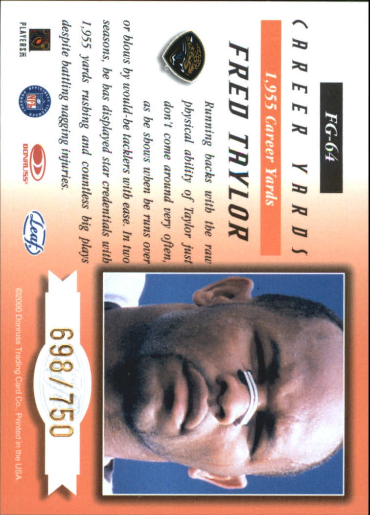 2000 Leaf Certified Fabric of the Game #FG64 Fred Taylor/750 back image