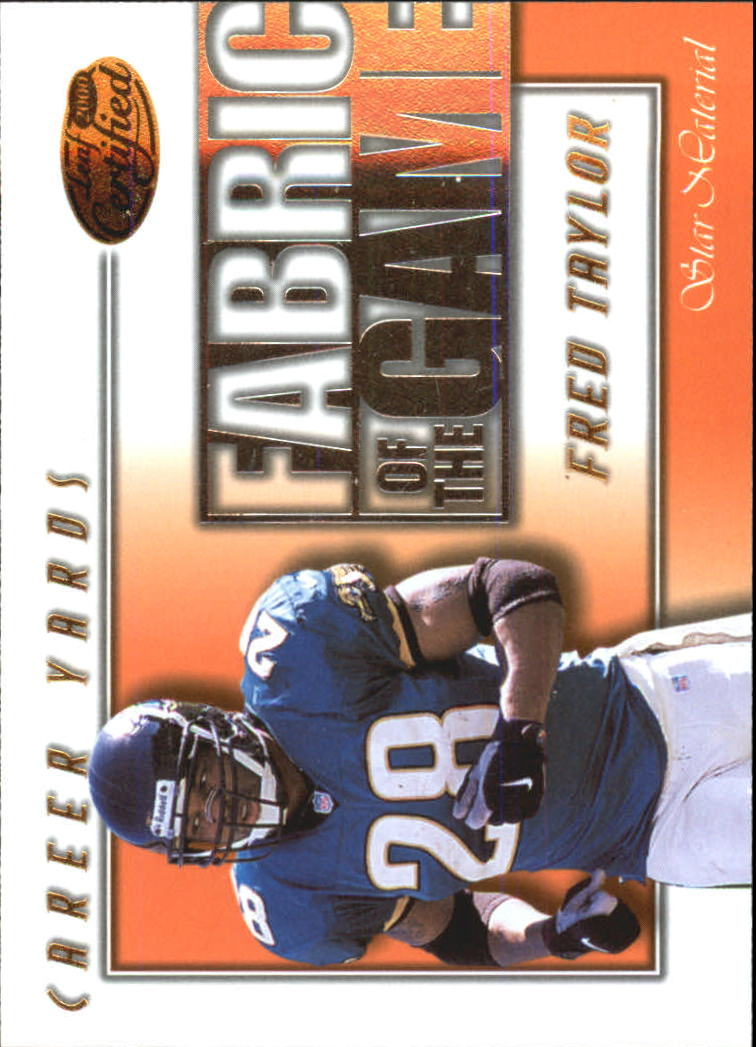 2000 Leaf Certified Fabric of the Game #FG64 Fred Taylor/750
