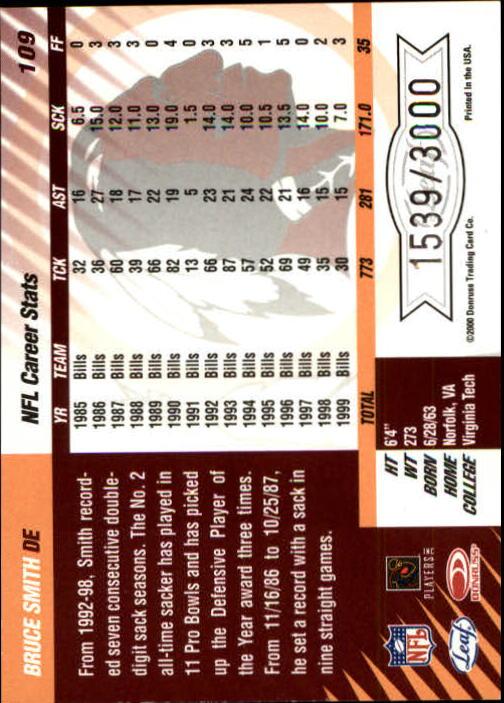 2000 Leaf Limited #109 Bruce Smith back image