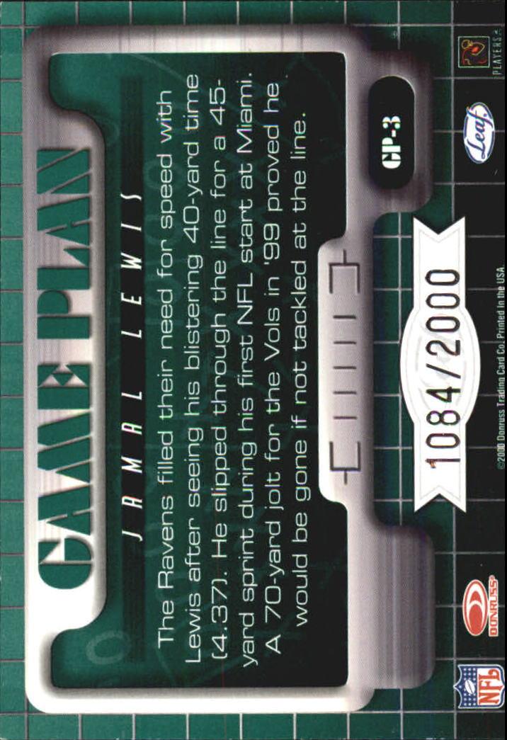2000 Leaf Rookies and Stars Game Plan #GP3 Jamal Lewis back image