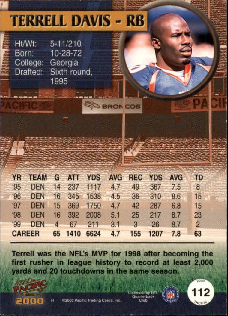 2000 Pacific Copper #112 Terrell Davis back image