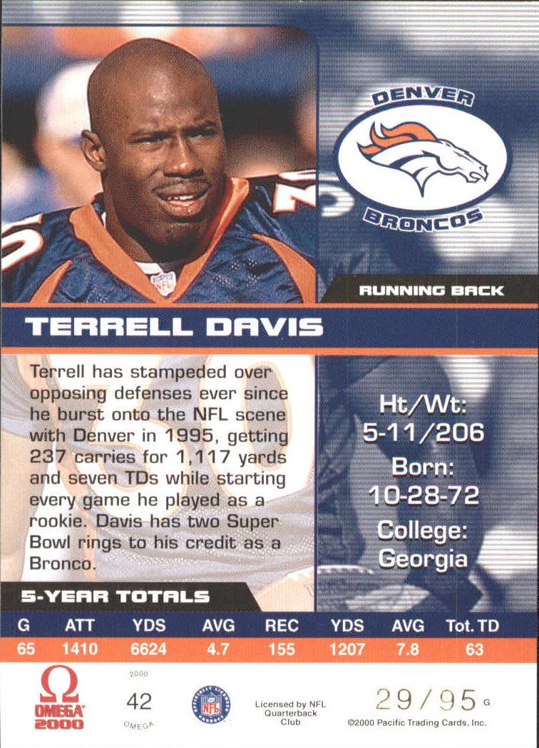 2000 Pacific Omega Gold #42 Terrell Davis back image