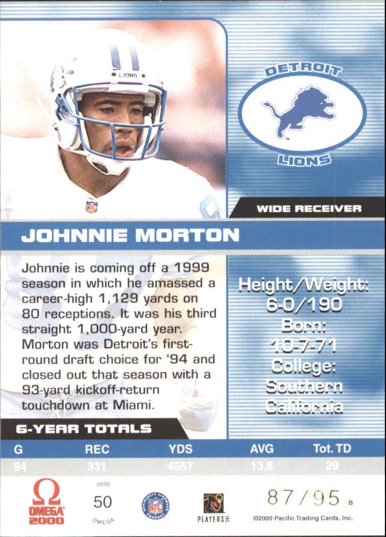 2000 Pacific Omega Gold #50 Johnnie Morton back image