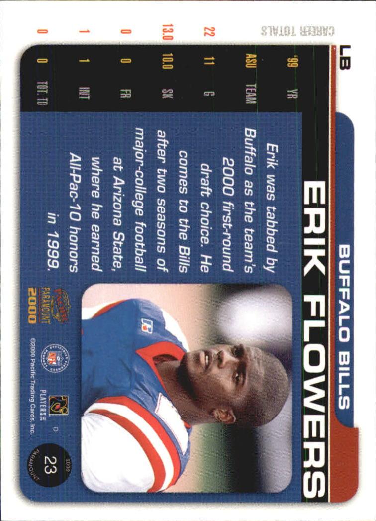 2000 Paramount Draft Picks 325 #23 Erik Flowers back image