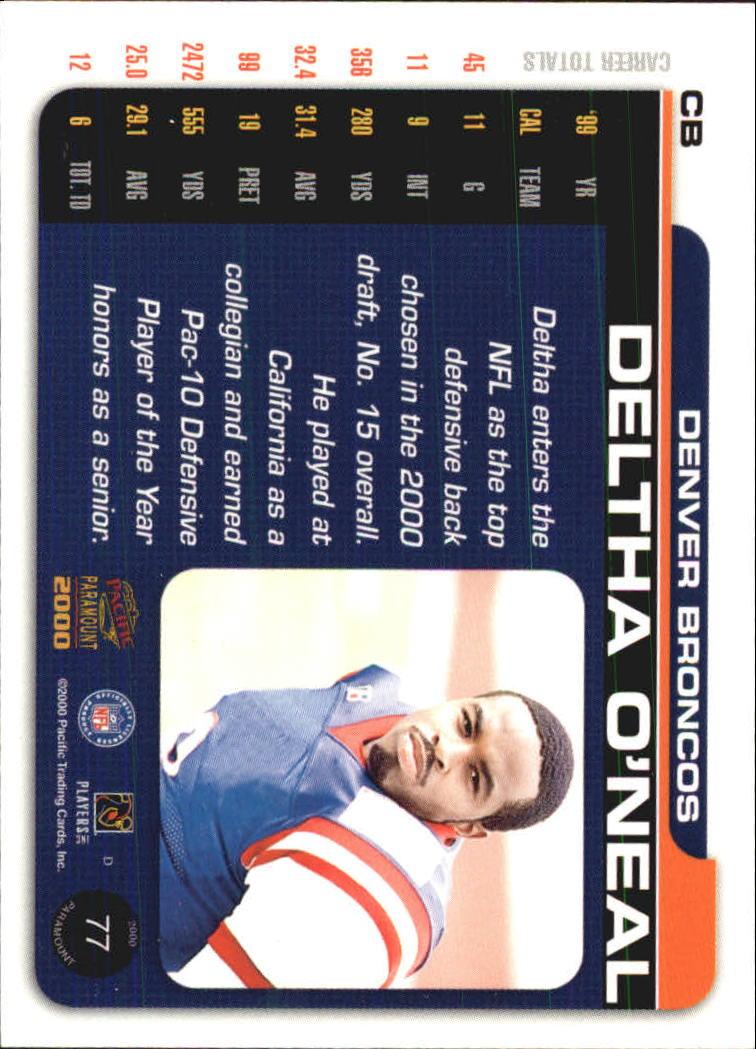 2000 Paramount Draft Picks 325 #77 Deltha O'Neal back image