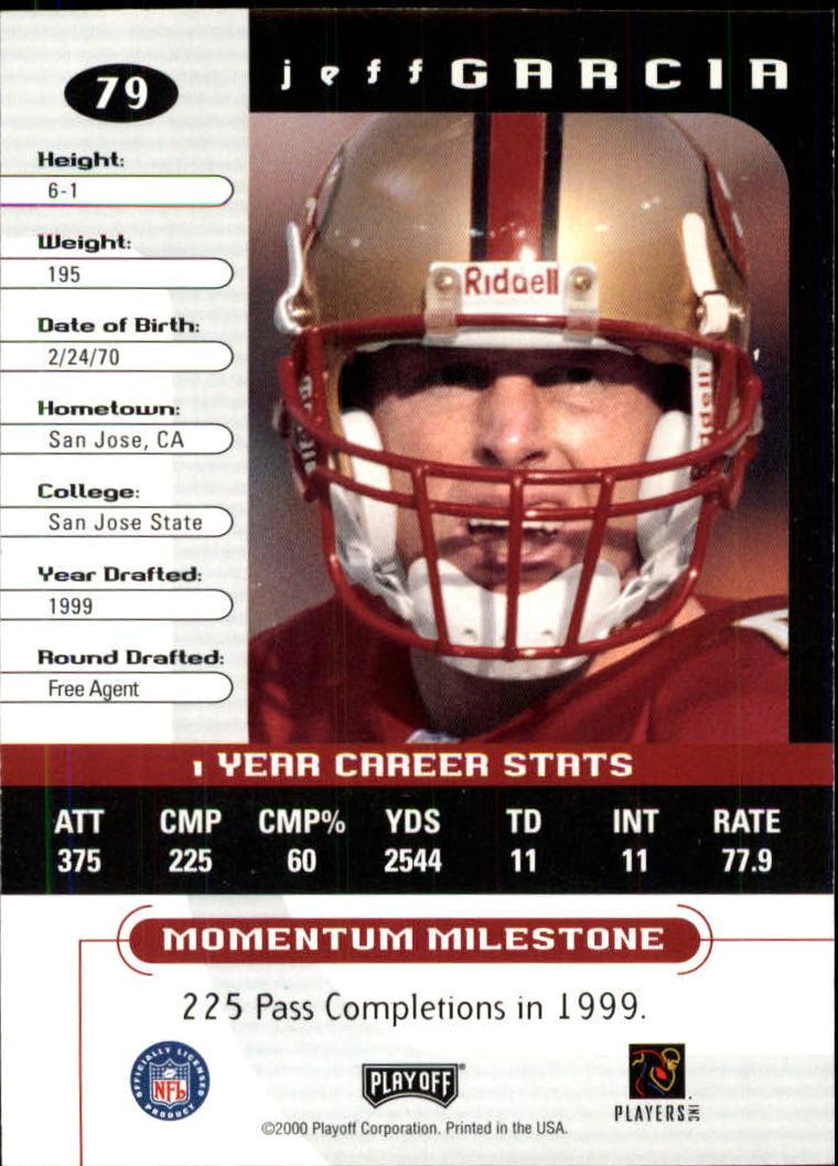 2000 Playoff Momentum #79 Jeff Garcia back image