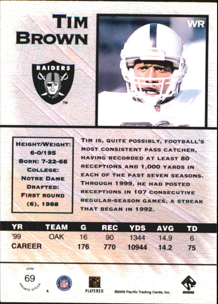2000 Private Stock #69 Tim Brown back image