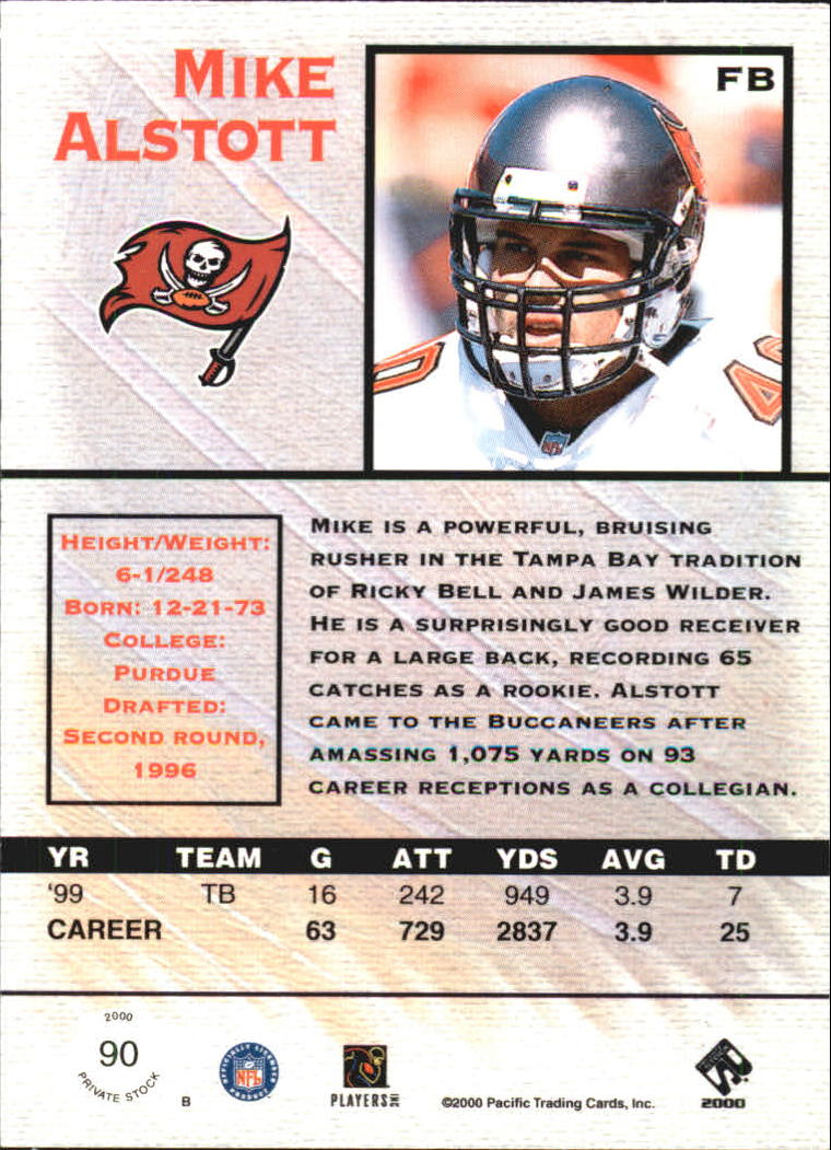2000 Private Stock #90 Mike Alstott back image