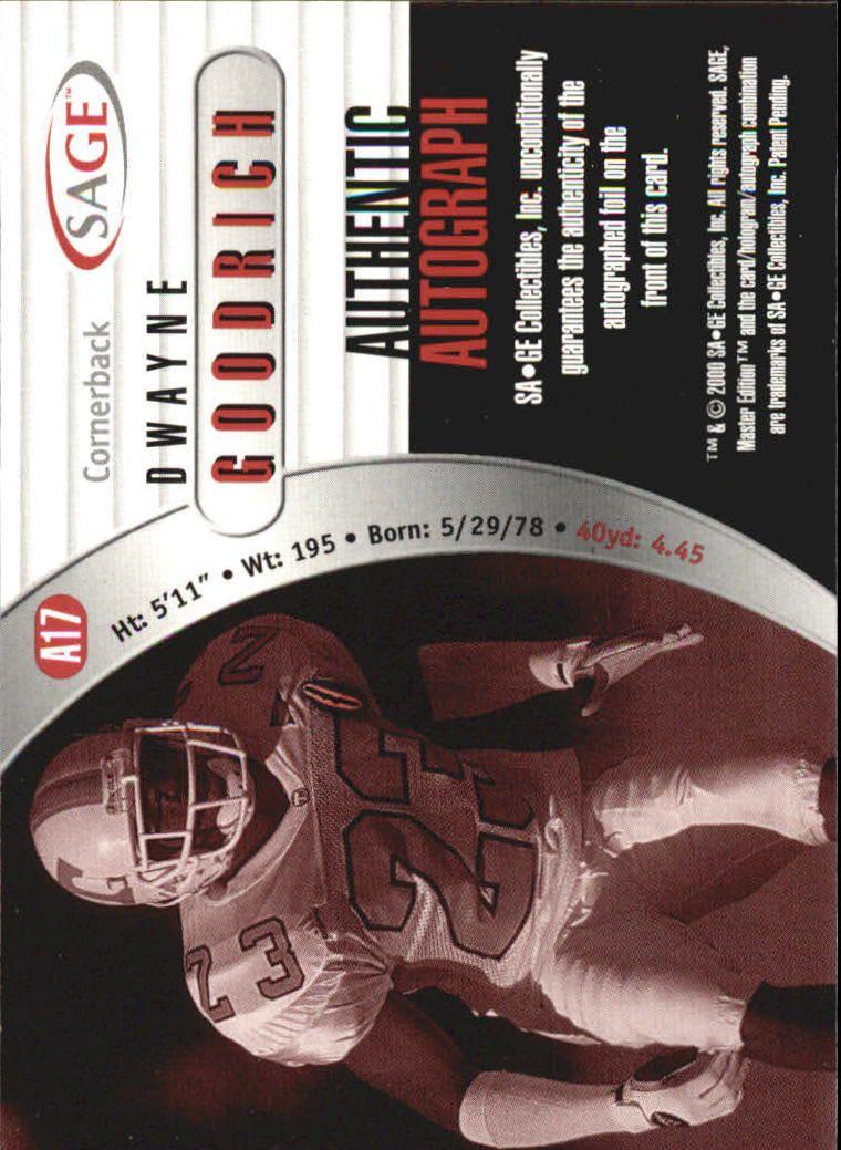 2000 SAGE Autographs Red #A17 Dwayne Goodrich/999 back image