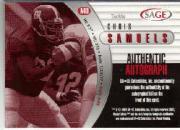 2000 SAGE Autographs Silver #A40 Chris Samuels/400 back image
