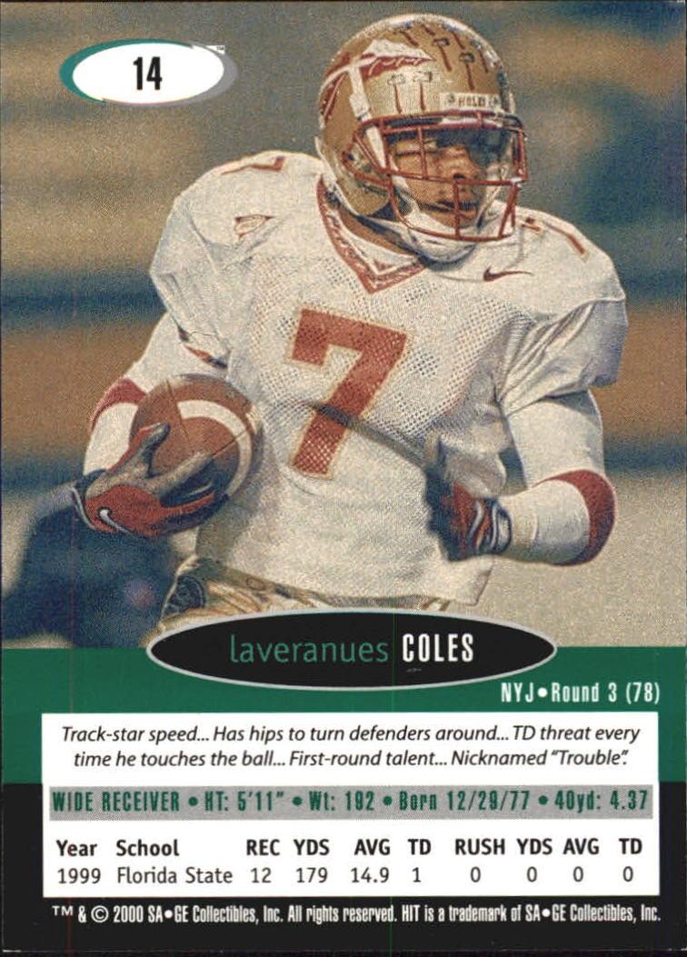 2000 SAGE HIT #14 Laveranues Coles back image