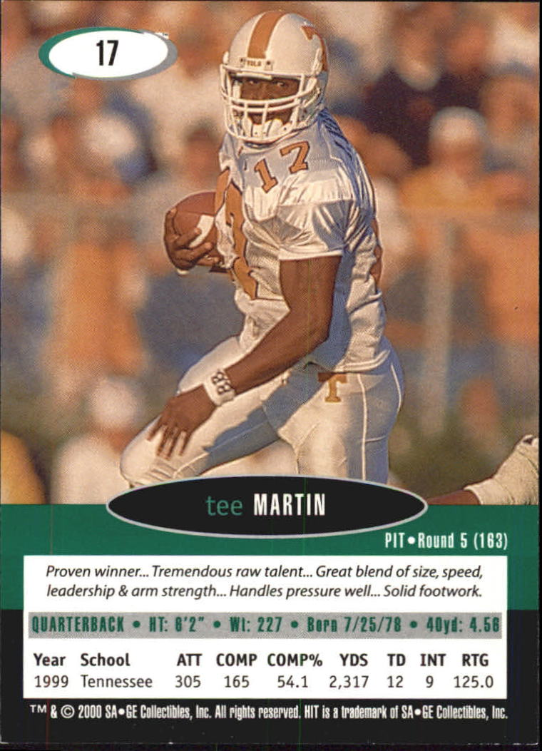 2000 SAGE HIT #17 Tee Martin back image