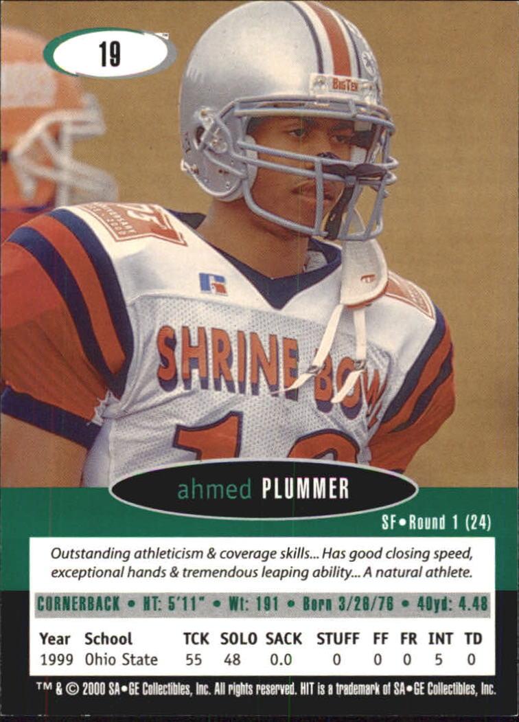 2000 SAGE HIT #19 Ahmed Plummer back image