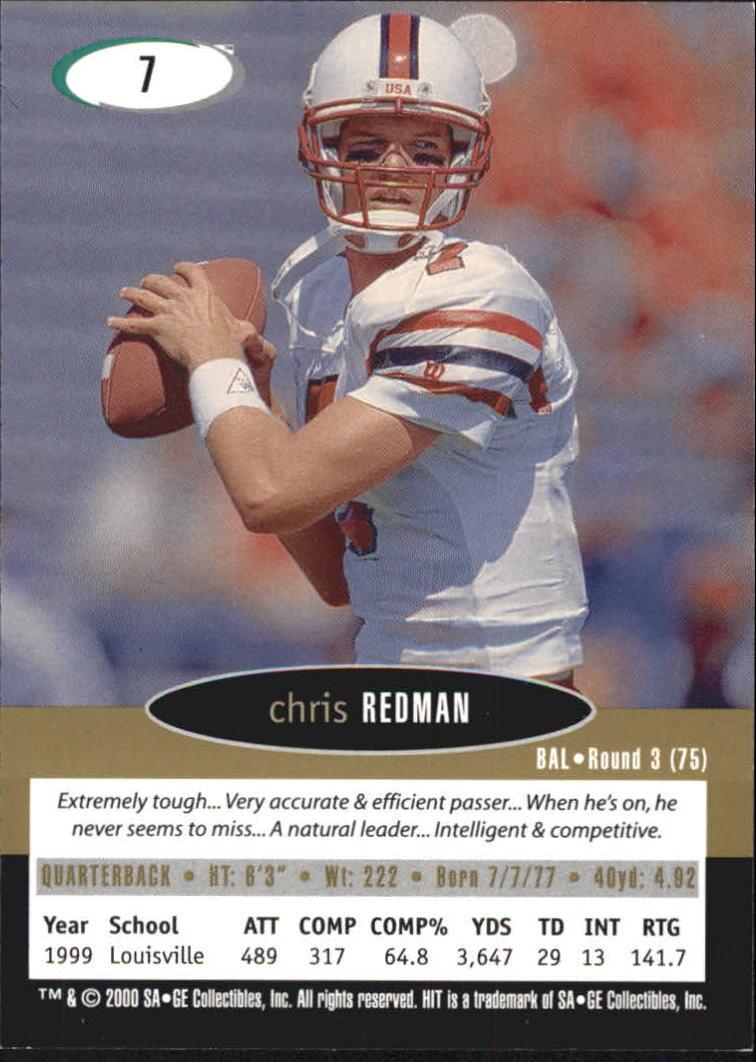 2000 SAGE HIT NRG #7 Chris Redman back image