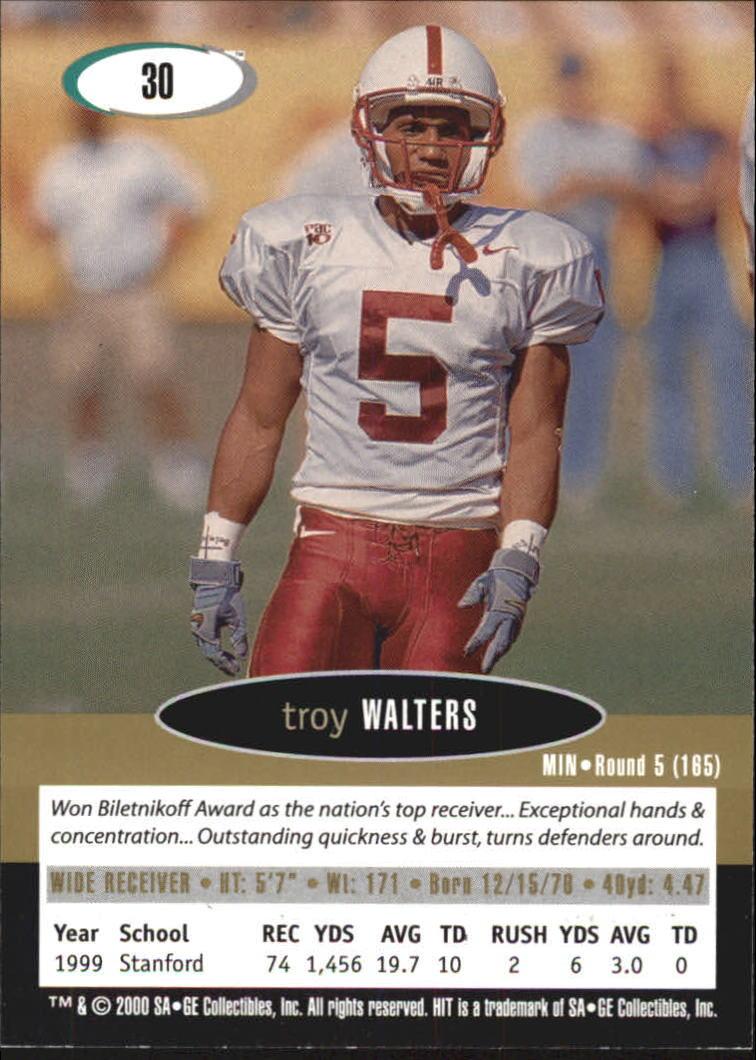 2000 SAGE HIT NRG #30 Troy Walters back image