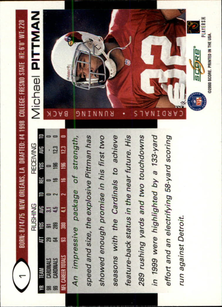 2000 Score #1 Michael Pittman back image