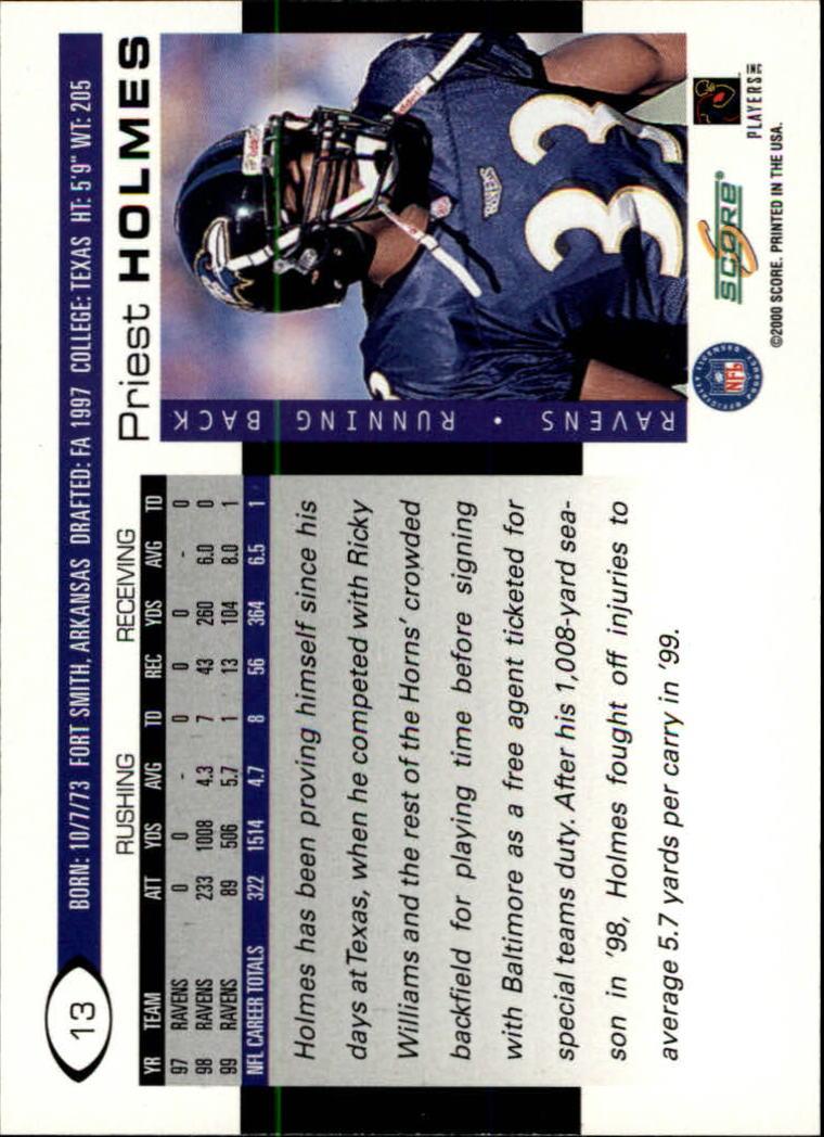 2000 Score #13 Priest Holmes back image