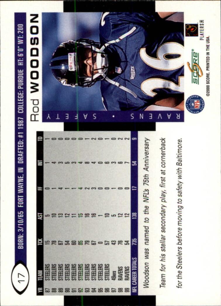 2000 Score #17 Rod Woodson back image