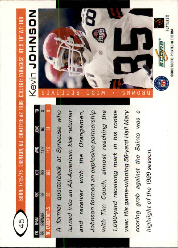 2000 Score #45 Kevin Johnson back image