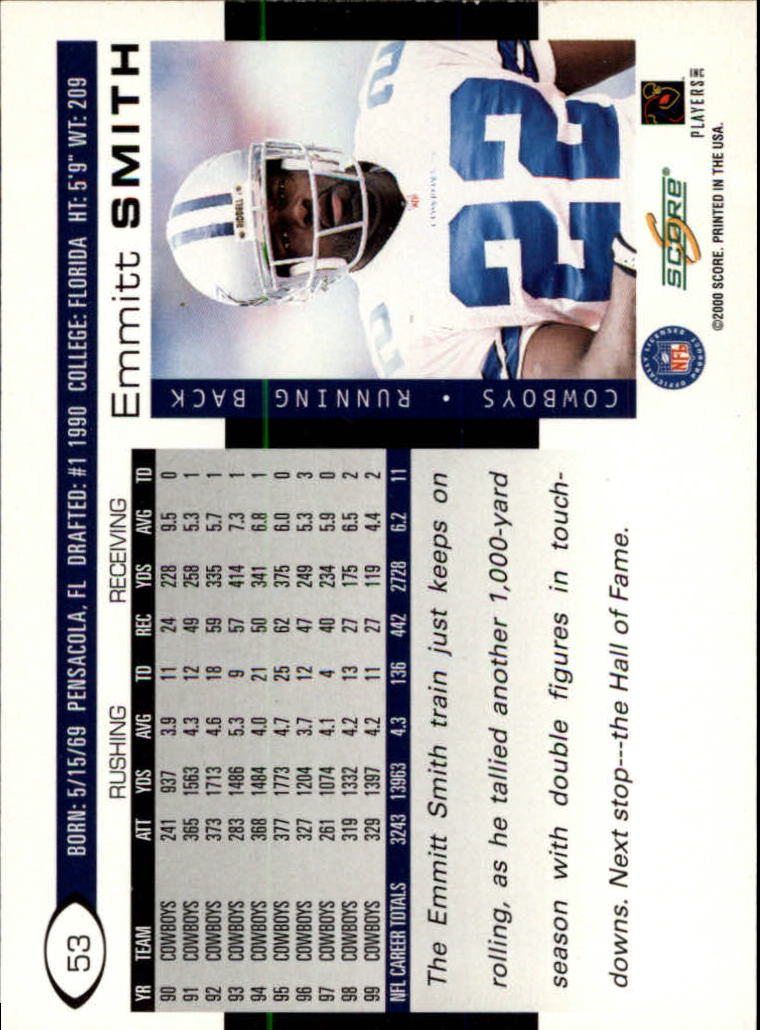 2000 Score #53 Emmitt Smith back image