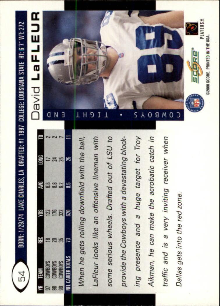 2000 Score #54 David LaFleur back image