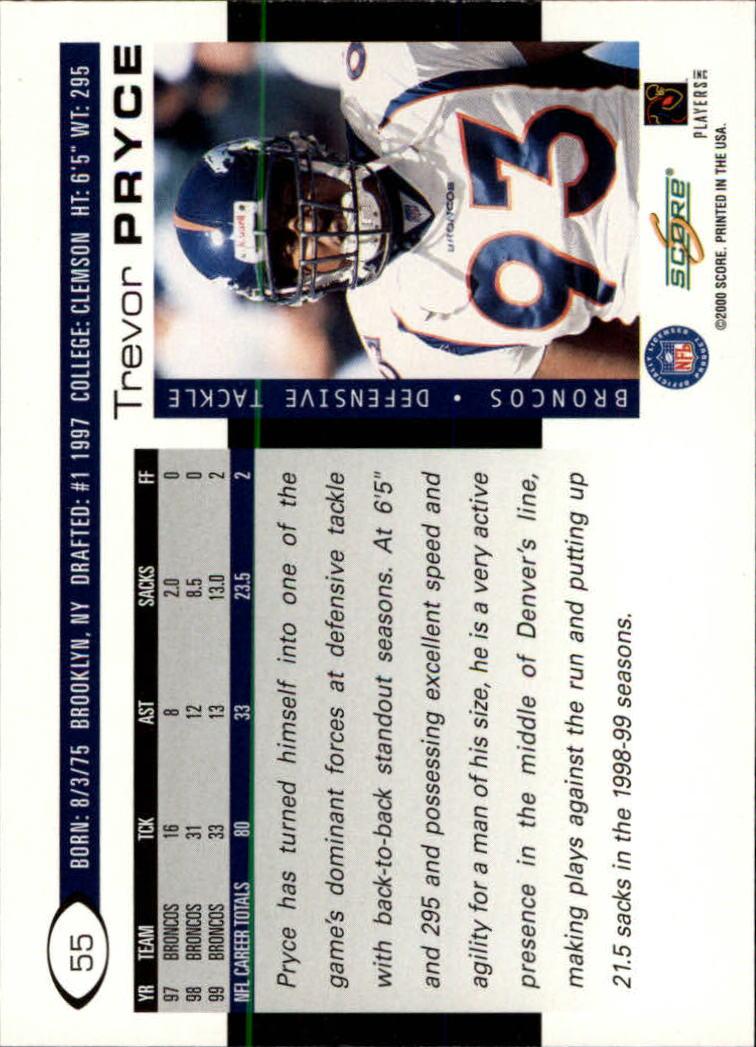 2000 Score #55 Trevor Pryce back image