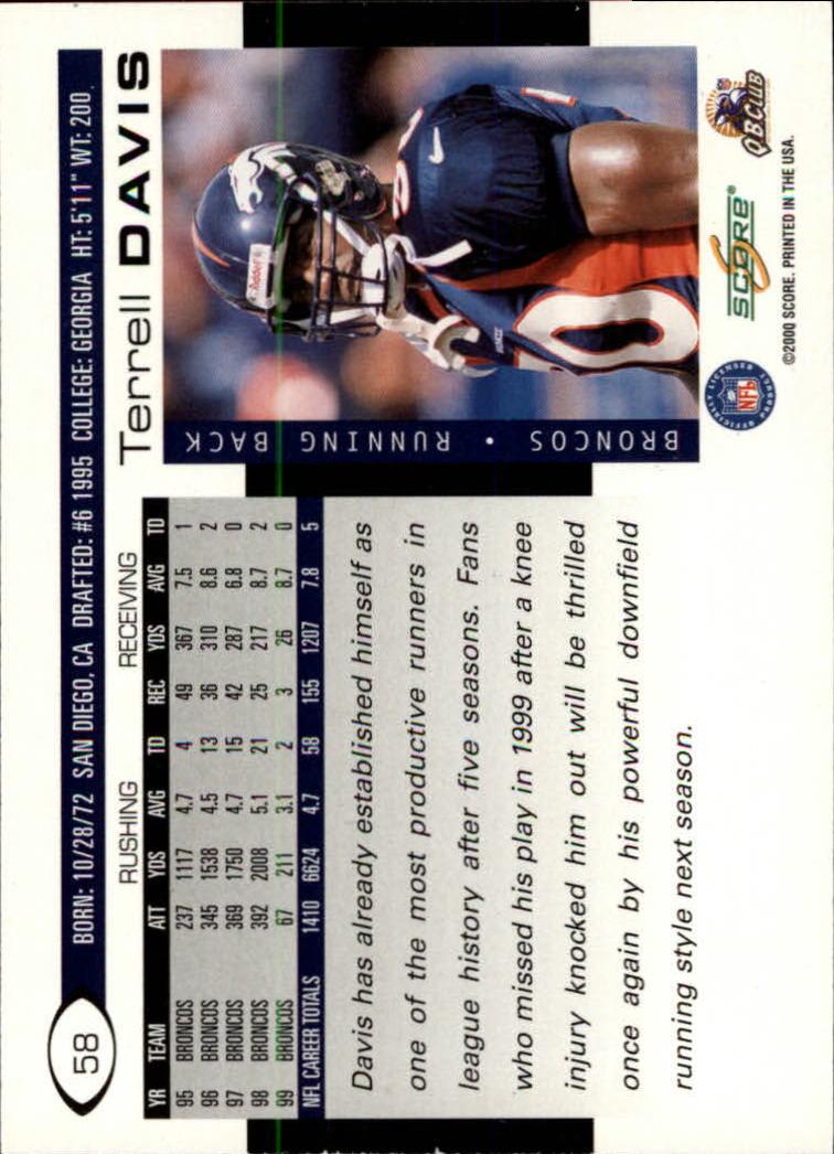 2000 Score #58 Terrell Davis back image