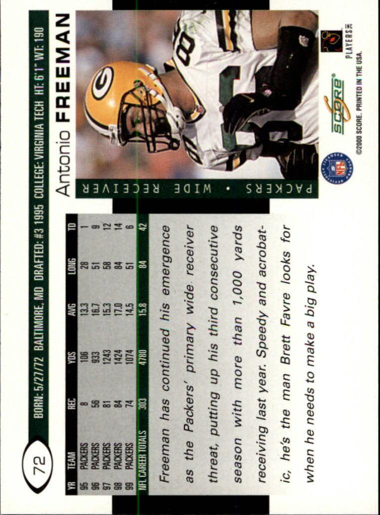2000 Score #72 Antonio Freeman back image