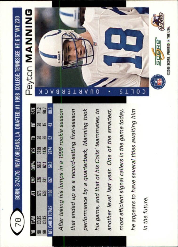 2000 Score #78 Peyton Manning back image