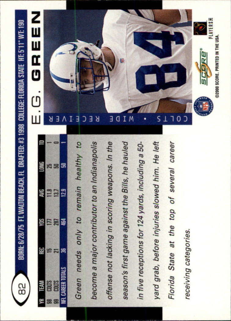 2000 Score #82 E.G. Green back image