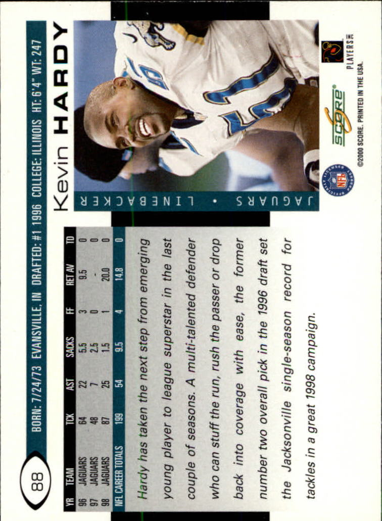 2000 Score #88 Kevin Hardy back image