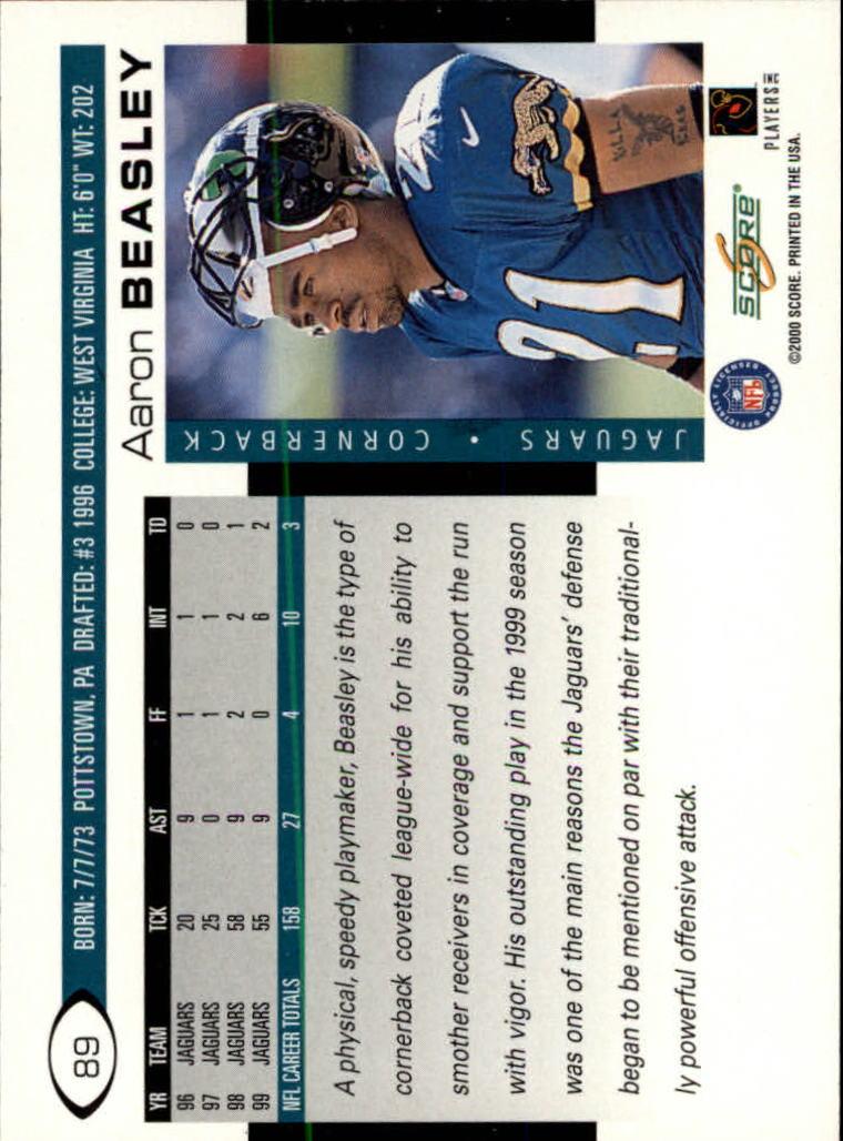 2000 Score #89 Aaron Beasley back image