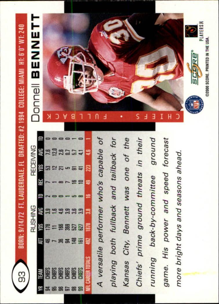 2000 Score #93 Donnell Bennett back image