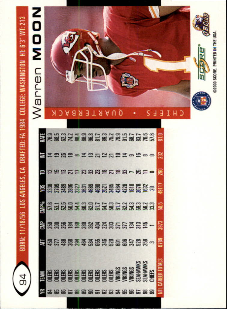 2000 Score #94 Warren Moon back image