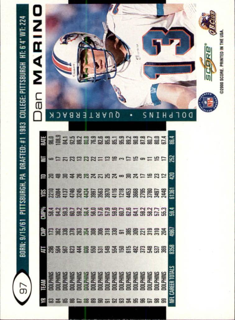2000 Score #97 Dan Marino back image