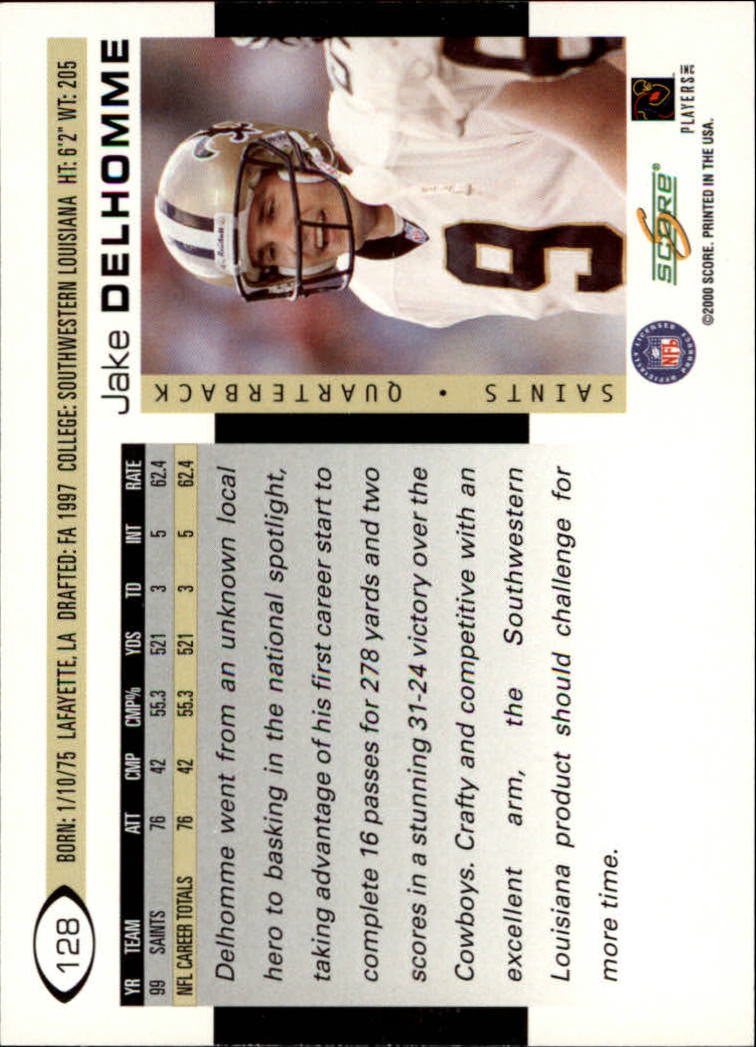 2000 Score #128 Jake Delhomme RC back image