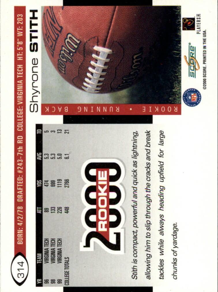 2000 Score #314 Shyrone Stith RC back image