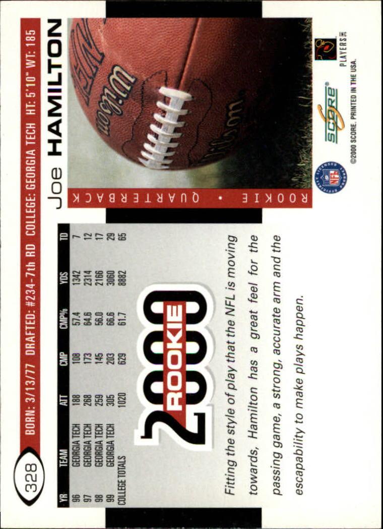 2000 Score #328 Joe Hamilton RC back image