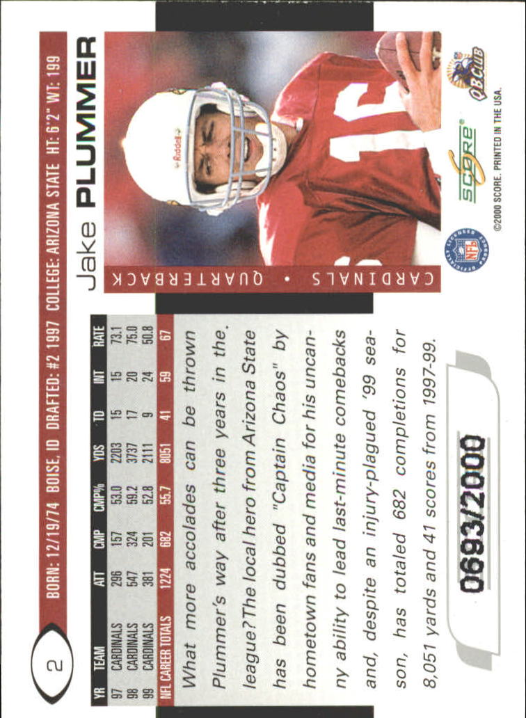 2000 Score Scorecard #2 Jake Plummer back image