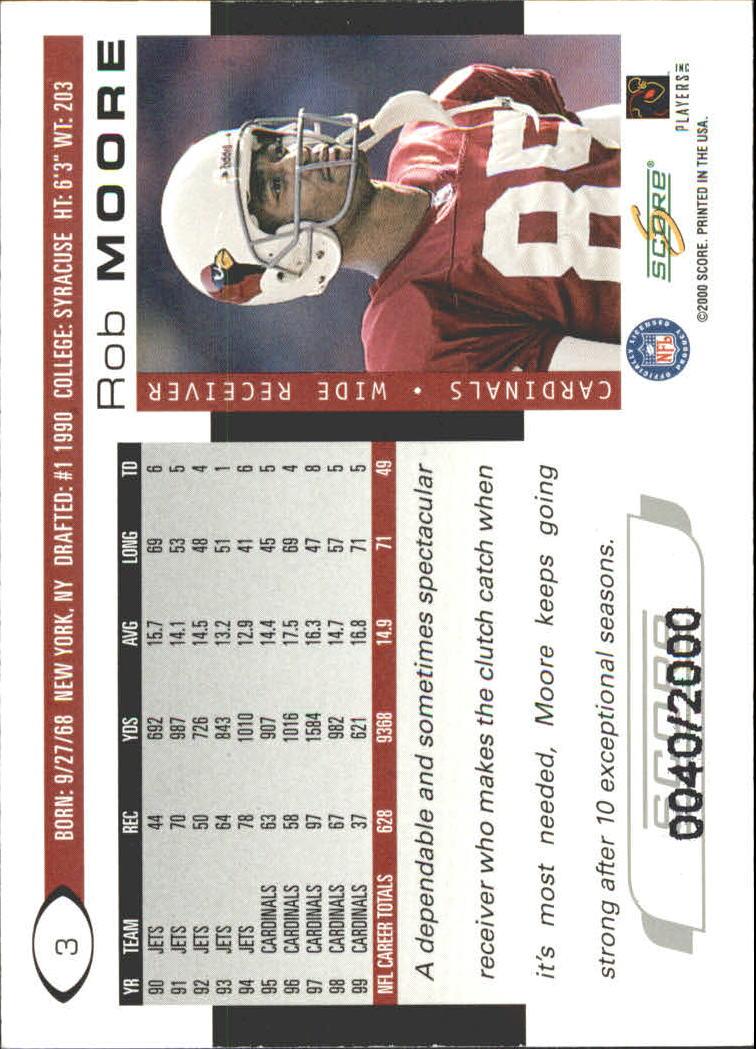 2000 Score Scorecard #3 Rob Moore back image